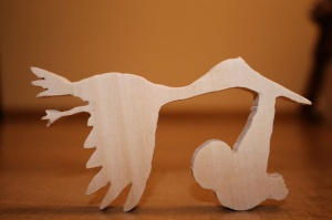 Аист с младенцем деревянная заготовка для рукоделия